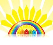 Vektorhäuser, -regenbogen und -pfeile Lizenzfreie Stockfotos