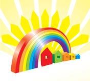 Vektorhäuser und -regenbogen Stockfotografie