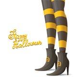 Vektorhäxan lägger benen på ryggen halloween bakgrund royaltyfri illustrationer