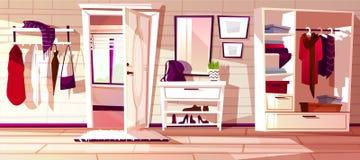 Vektorhall med den öppna dörren för lokalsofa för bakgrund inre white för tappning vektor illustrationer