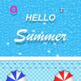 Vektorhallo Sommerbeschriftung auf Swimmingpool für Fahne, Broschüre und Einladung entwerfen Stockfotografie