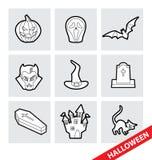 Vektorhalloween symboler stock illustrationer