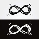 Vektorhand-attraktion oändlighet. Oändlighetssymbol, begreppsmässigt som är iconic, Arkivfoton