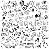Vektorhand gezeichnete Ikonen: großes Set des modernen sozialen Stockfoto