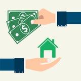 Vektorhand machen den Kauf und den Verkauf vom Eigentum lizenzfreie stockbilder