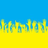 Vektorhand mit Ukraine-Flagge Stockfotos