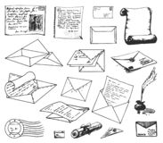 Vektorhand som dras för att skissa av pappers- bokstavsillustration på vit bakgrund stock illustrationer