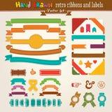 Vektorhandbetrag-Set Retro- Farbbänder und Kennsätze Stockfotos