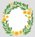Vektorhandgezogene Blumen und -blätter mit Kreisgrenze lizenzfreies stockfoto