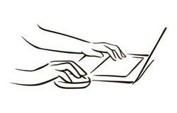 Vektorhandgezogene Hand mit Computermäuseskizzenillustration auf weißem Hintergrund vektor abbildung
