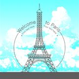 Vektorhandgezogene Illustration berühmten errichtenden Schattenbildes Paris auf weißem Hintergrund lizenzfreie stockbilder
