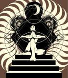 Vektorhandgezogene Illustration der Frau in der Yogahaltung auf Treppenhaus