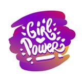 Vektorhandgezogene Illustration der Mädchenenergie-Beschriftungsillustration auf weißem Hintergrund stock abbildung