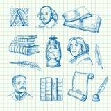 Vektorhandgezogener Theater-Elementsatz auf blauer Zellblatt-Hintergrundillustration lizenzfreie abbildung