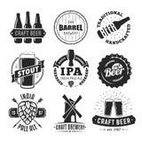 Vektorhandwerks-Bierlogos Stockfotos