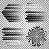 Vektorhastighetslinjer Skissa styrka och vinka snabbt på genomskinlig bakgrund stock illustrationer