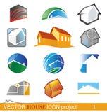 Vektorhaus-Ikonenprojekt 1 Lizenzfreie Stockbilder