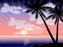 Vektorhav med soluppsättningen Arkivbilder