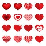 Vektorherzen entwerfen Art des Satzes 16 für Valentinstag Stockfotos
