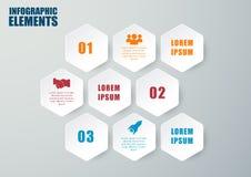 Vektorhexagon infographic Schritte oder Prozesse Stockbilder