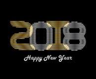 Vektorhintergrund des guten Rutsch ins Neue Jahr 2018 mit Gold- und Silber lette Stockbilder