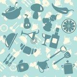 Vektorhintergrund Lebensmittel-Ikonen-Muster - Illustration Lizenzfreie Stockfotografie