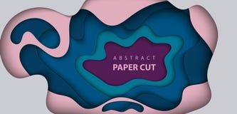 Vektorhintergrund mit den blauen und rosa bunten Papierschnittformen lizenzfreie abbildung