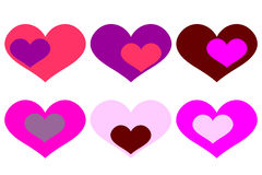 Vektorhintergrund mit farbigen Herzen Stockfoto