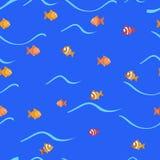 Vektorhintergrund mit Fischschwimmen Stockbild