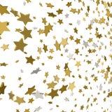 Vektorhintergrund mit Gold 3d spielt Konfettis die Hauptrolle Stockfotografie