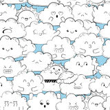 Vektorhintergrund mit netten Gekritzelwolken Nahtlose Tapete, Beschaffenheit, Hintergrund Für ein Geschenk verpacken, Fahne, Kart Lizenzfreies Stockbild