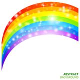 Vektorhintergrund mit Regenbogen und glücklichem Klee Stockfoto