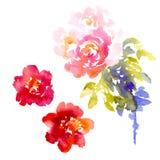Vektorhintergrund mit rosa Aquarellblumenstrauß Lizenzfreie Stockfotos
