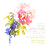 Vektorhintergrund mit rosa Aquarellblumenstrauß Stockfotografie