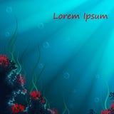 Vektorhintergrund mit Unterwasserhöhle Stockfoto