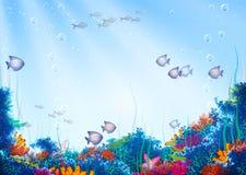 Vektorhintergrund mit Unterwasserhöhle Stockbilder