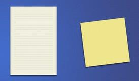 Vektorhintergrundgelb-Papieranmerkung Lizenzfreie Stockbilder