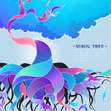 Vektorhintergrundillustration mit magischem Baum Stockbild