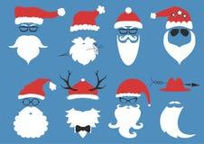 Vektorhipster Santa Claus Kontur med det kalla skägget Royaltyfria Bilder