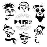 VektorHipsterteckenet vänder mot avatars Stock Illustrationer