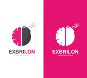 Vektorhjärnan och bombarderar logokombination Kläckning av ideer och vetenskapssymbol eller symbol Unik psykologi och innovation Royaltyfria Foton