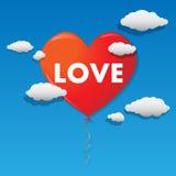 Vektorhjärta formade ballongen som flyger över himlen royaltyfri illustrationer
