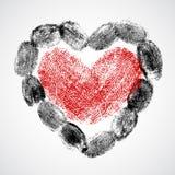 Vektorhjärta-, man- och kvinnafingeravtryck Royaltyfri Fotografi
