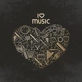 Vektorhjärtaform med uppsättningen för symbol för musikinstrument Jag älskar musik - den tunna linjen illustration Isolerad solid Arkivfoton