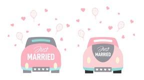 Vektorhochzeitsauto-Karikaturart gerade verheiratet vektor abbildung