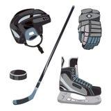 Vektorhockeyikonen eingestellt in flache Art Gefrieren Sie Ausrüstungssammlung, Kobold, Stock usw. Sportgangbilder für Clubs usw. vektor abbildung