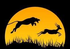 Vektorhorisontalillustration av africa wild livstid jakt africa logo Jaguar och antilop träd och djur stock illustrationer