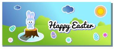 Vektorhorisontallandskap för lycklig påsk med målad ägg och kanin Kanin- och äggklistermärke Garneringkullar och himmel stock illustrationer