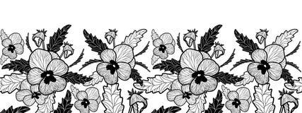 Vektorhorisontalsömlös gräns med den svartvita penséen stock illustrationer