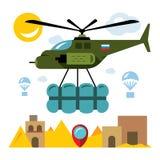 Vektorhumanitärt bistånd i en krigzon Färgrik tecknad filmillustration för plan stil Royaltyfria Foton